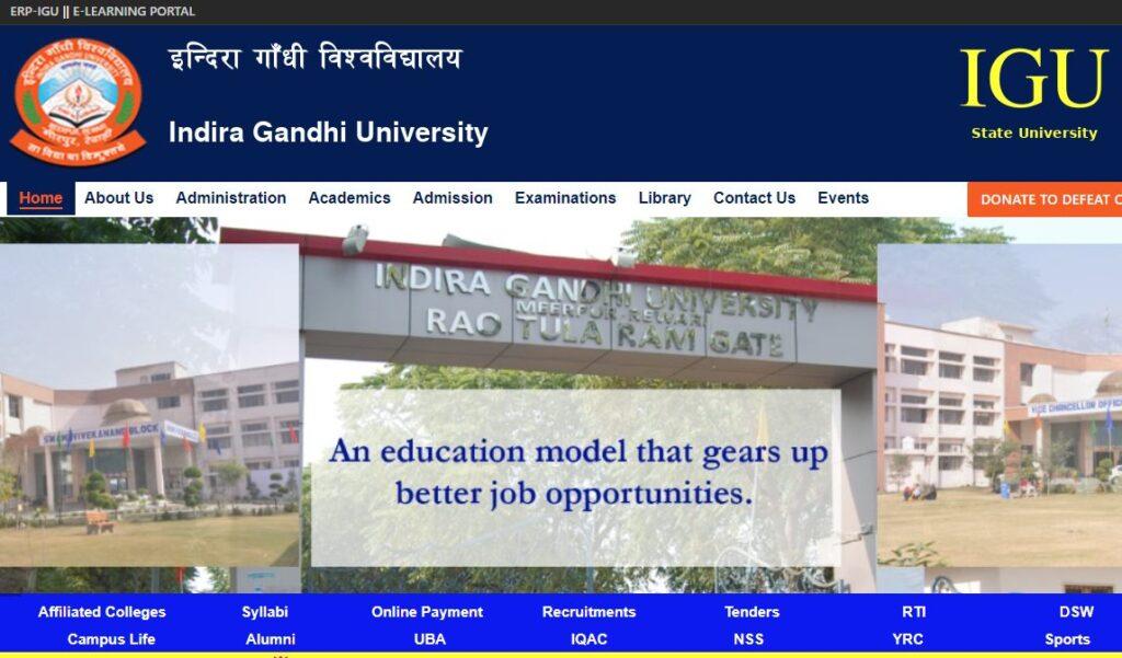 Faculty Position in Indira Gandhi University Meerpur Rewari